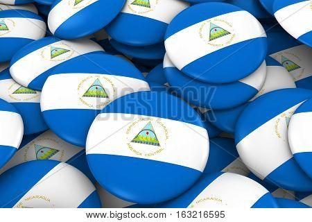 Nicaragua Badges Background - Pile Of Nicaraguan Flag Buttons 3D Illustration