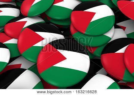 Palestine Badges Background - Pile Of Palestinian Flag Buttons 3D Illustration