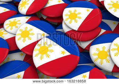 Philippines Badges Background - Pile Of Filipino Flag Buttons 3D Illustration