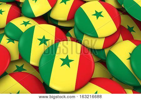 Senegal Badges Background - Pile Of Senegalese Flag Buttons 3D Illustration