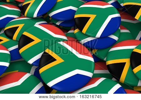 South Africa Badges Background - Pile Of South African Flag Buttons 3D Illustration
