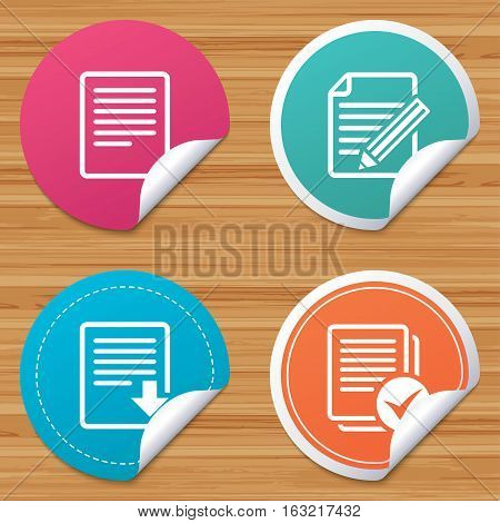 Round stickers or website banners. File document icons. Download file symbol. Edit content with pencil sign. Select file with checkbox. Circle badges with bended corner. Vector