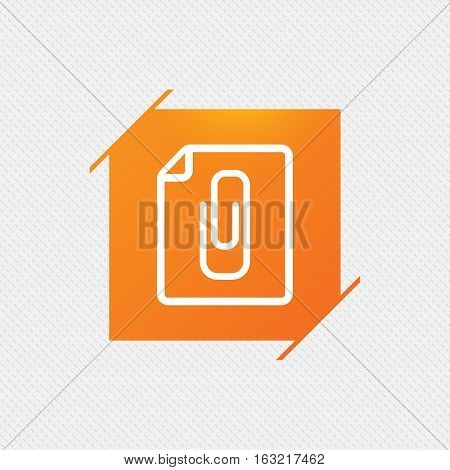 File annex icon. Paper clip symbol. Attach symbol. Orange square label on pattern. Vector