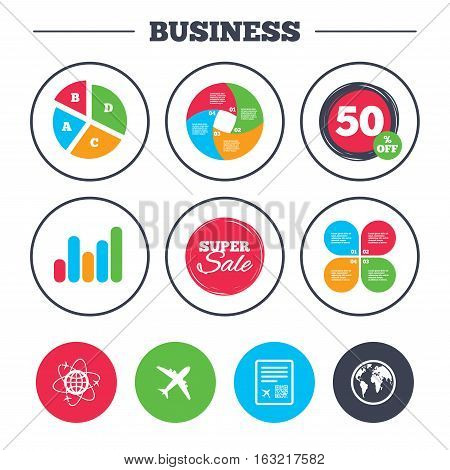 Business pie chart. Growth graph. Airplane icons. World globe symbol. Boarding pass flight sign. Airport ticket with QR code. Super sale and discount buttons. Vector