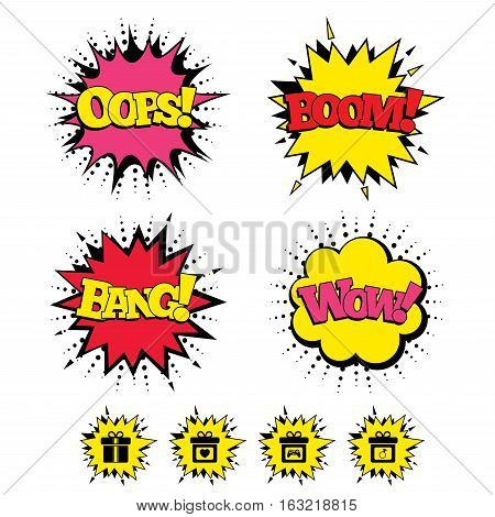 Comic Boom, Wow, Oops sound effects. Gift box sign icons. Present with bow and ribbons symbols. Engagement ring sign. Video game joystick. Speech bubbles in pop art. Vector