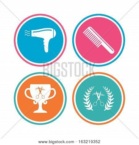 Hairdresser icons. Scissors cut hair symbol. Comb hair with hairdryer symbol. Barbershop laurel wreath winner award. Colored circle buttons. Vector