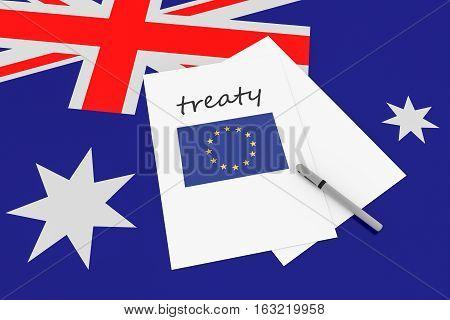 Australian Politics: EU Treaty Note With Pen On Australia Flag 3d illustration