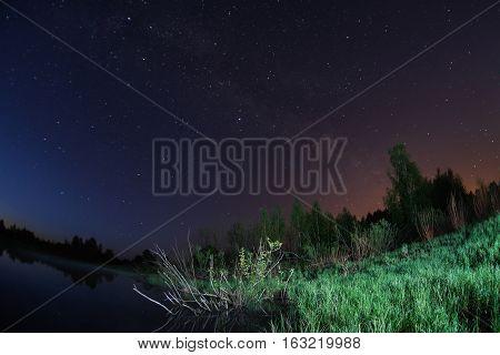 starry night the stars over the lake green grass trees illuminated by a flashlight the Milky Way fisheye photo