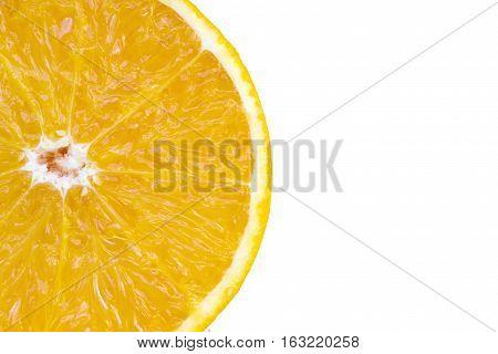 Closeup slice of fresh orange isolated on white background