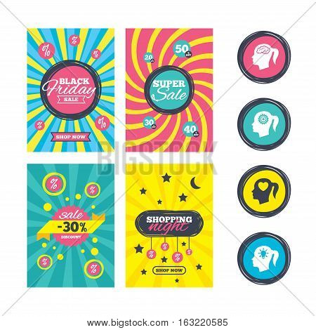 Sale website banner templates. Head with brain and idea lamp bulb icons. Female woman think symbols. Cogwheel gears signs. Love heart. Ads promotional material. Vector