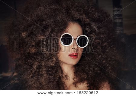Portrait Of Girl With Afro.