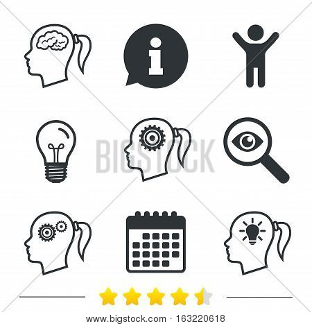 Head with brain and idea lamp bulb icons. Female woman think symbols. Cogwheel gears signs. Information, light bulb and calendar icons. Investigate magnifier. Vector