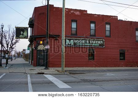 CADILLAC, MICHIGAN / UNITED STATES - NOVEMBER 27, 2016: One may drink alcoholic beverages, and eat lunch or dinner, at Maggie's Tavern in Cadillac.