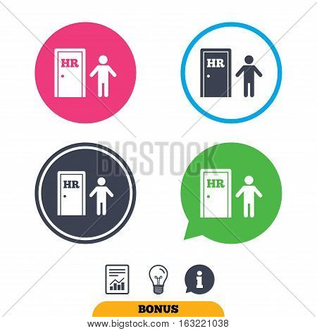 Human resources sign icon. HR symbol. Workforce of business organization. Man at the door. Report document, information sign and light bulb icons. Vector