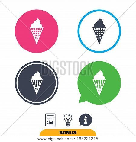 Ice Cream in waffle cone sign icon. Sweet symbol. Report document, information sign and light bulb icons. Vector