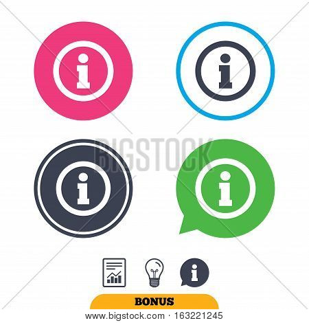 Information sign icon. Info symbol. Report document, information sign and light bulb icons. Vector