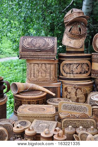 Souvenir trade. Items made of birch bark.