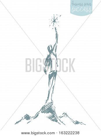 Hand drawn sketch of a person, reaching star. Leadership, opportunities, growth. Concept vector illustration