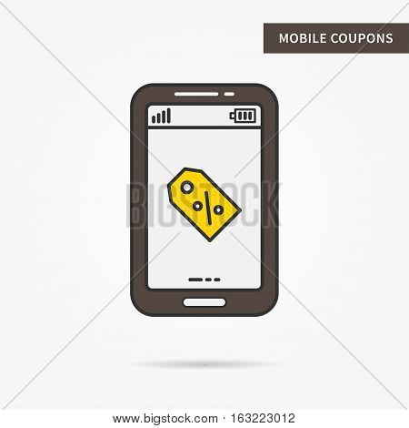 Linear mobile coupon service. Flat phone special offer tag discount gift present certificate app. Mobile web promotion ticket technology symbol. Vector coupon software illustration.