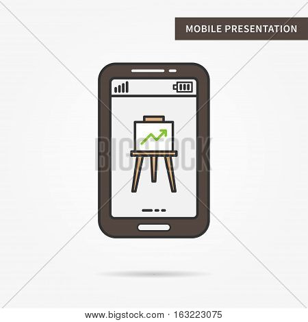 Linear mobile presentation app. Flat phone graph chart app. Mobile web powerpoint presentation technology symbol. Creative mobile slide diagram graphic design. Vector infochart software illustration.