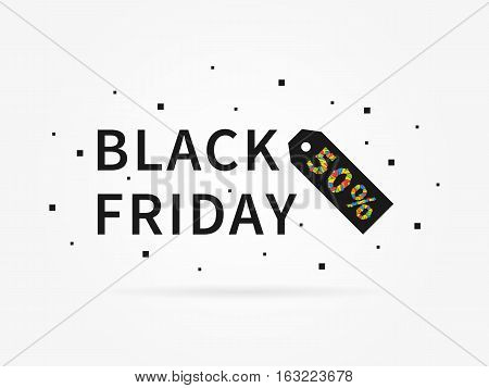 Black Friday 50 percent discount vector illustration on grey background. Black Friday 50 percent off discount creative promotion concept. Special offer element for banner coupon retail marketing.