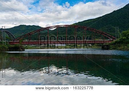 Red Bridge Across Kiso River, Japan