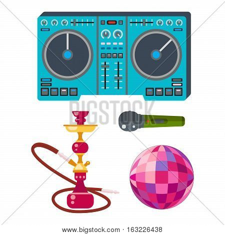Night club sign of bright beautiful party symbol. Entertainment music nightlife vector dance elements. Colorful decoration illumination dark lifestyle event.