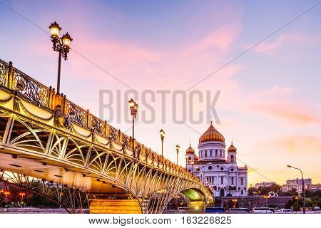 Sight of the Cathedral of Christ the Savior in Moscow with beautiful sky during sunset