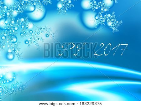 Light blue shiny fractal based PF 2017 good luck wishing card for New Year with shiny blue curves stylized twigs Christmas ornaments decoration and delicate white text. Romantic and energetic feel.