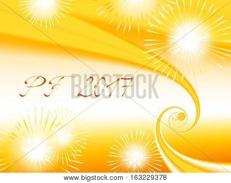 Yellow orange and white shiny fractal based PF 2017 good luck wishing card for New Year with yellow and orange spirals several warm color fireworks and delicate red text. Energetic and romantic.