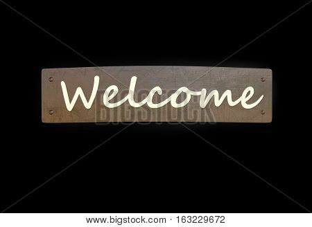 welcome sign metal copper plate 3d render