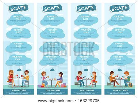 Couples of people in cafe eat, drink and use phone. Templates for flyers and banners. Vector Illustration with men and women at tables on blue city background.