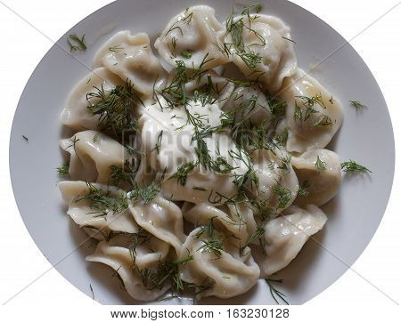 meat dumplings on a white background national cuisine food