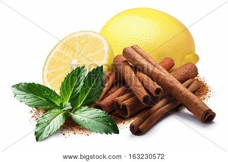 Lemon With Mint And Cinnamon, Clipping Paths