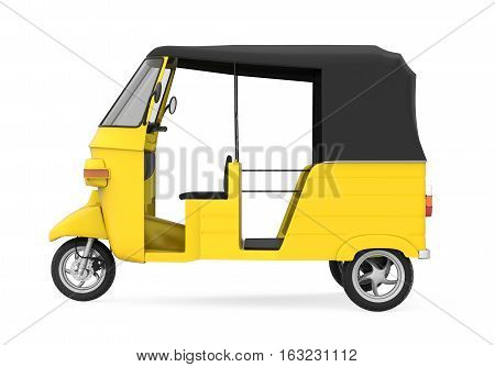 Yellow Auto Rickshaw isolated on white background. 3D render