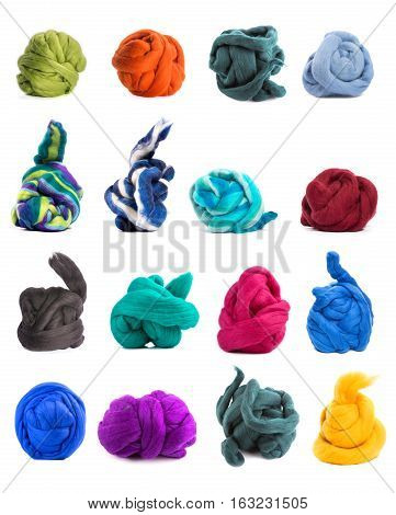Collage of colorful skeins of merino wool on a white background