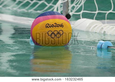 RIO DE JANEIRO, BRAZIL - AUGUST 10, 2016: Rio 2016 water polo game ball at the Maria Lenk Aquatic Center in Rio de Janeiro