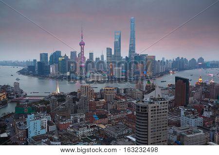 Aerial Photography At Shanghai Bund Skyline Of Sunset Glow