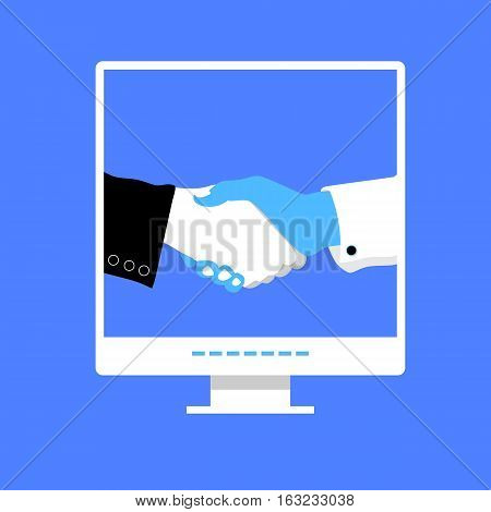 Business handshake with blue office building on screen