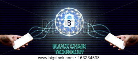 Blockchain Technology Concept, Two Businessman Holding Smartphone And Virtual System Diagram Bitcoin