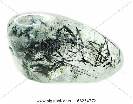natural quartz semigem geode crystals with black tourmaline geological mineral isolated