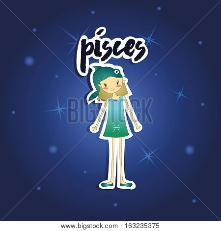 Vector illustration of cartoon Pisces girl on starry night background