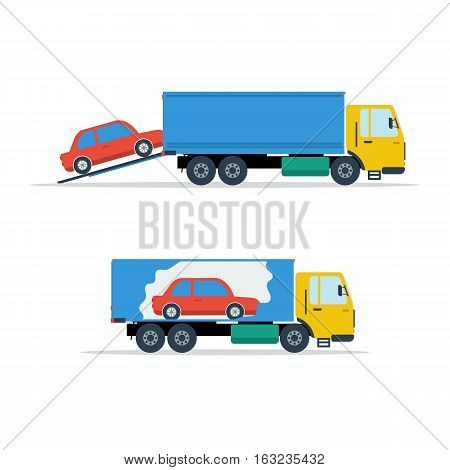 Vector illustration loading red small car in the truck. One picture - loading process, the other - the car inside the body. Infographic in flat style on white isolated background