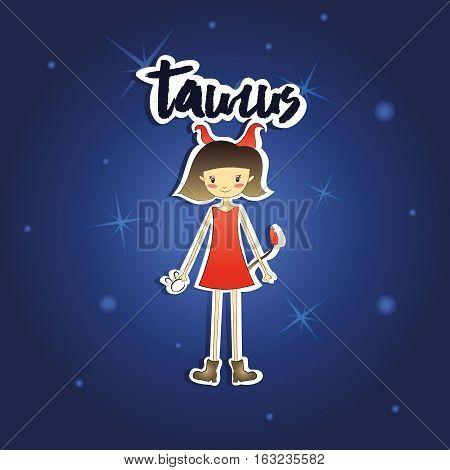 Vector illustration of cartoon Taurus girl on starry night background