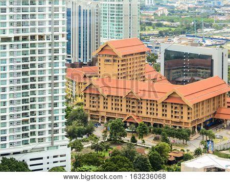KUALA LUMPUR, MALAYSIA - JANUARY 12, 2014: Aerial view of the Kuala Lumpur, Malaysia. Old and modern buildings