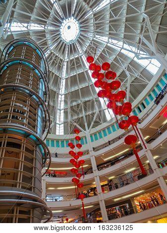 KUALA LUMPUR, MALAYSIA - JANUARY 12, 2014: Interior of the shopping mall Suria KLCC. Kuala Lumpur, Malaysia