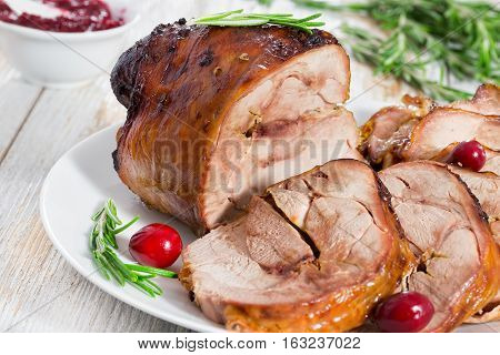 Slices Of Delicious Grilled Turkey Roll With Cranberry And Rosemary