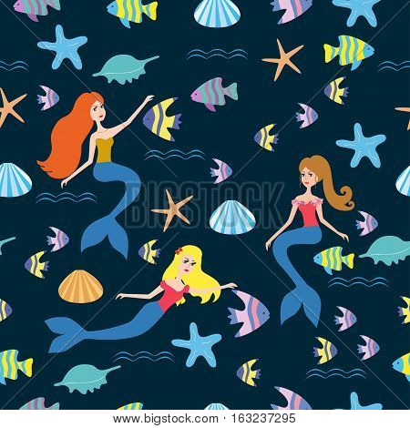Pattern with cartoon mermaid and fish vector illustration. Seamless pattern with mermaids, fish, sea. Seamless pattern with cartoon mermaid for kids, girl.