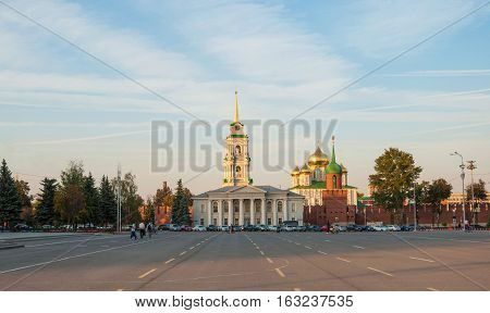 The central area of the city of Tula with the Kremlin in the evening. Russia, Tula. September 23, 2015