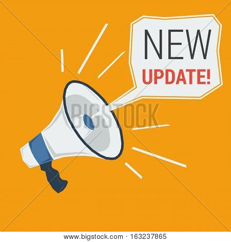 Square vector concept new update. Megaphone calling for uploading in flat style on orange background